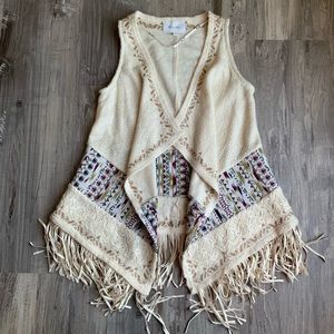 Miss Me Tribal Beat Knit Open Front Vest Cardigan